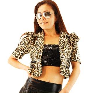 ベロア風高級感たっぷりな豹柄テーラードジャケット