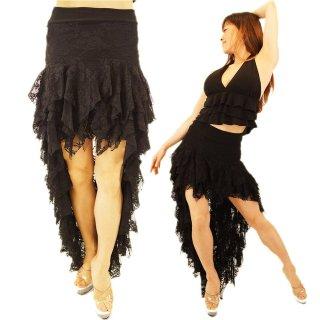 BLACKレースのシースルー アシンメトリーデザインロングスカート♪プロのダンサーにもおすすめ!