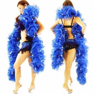 迫力あるBIGサイズ ロイヤルブルー ボリューミーマラボー  キラキラな装飾 プロのバーレスクダンサ-にもおすすめ[送料無料]