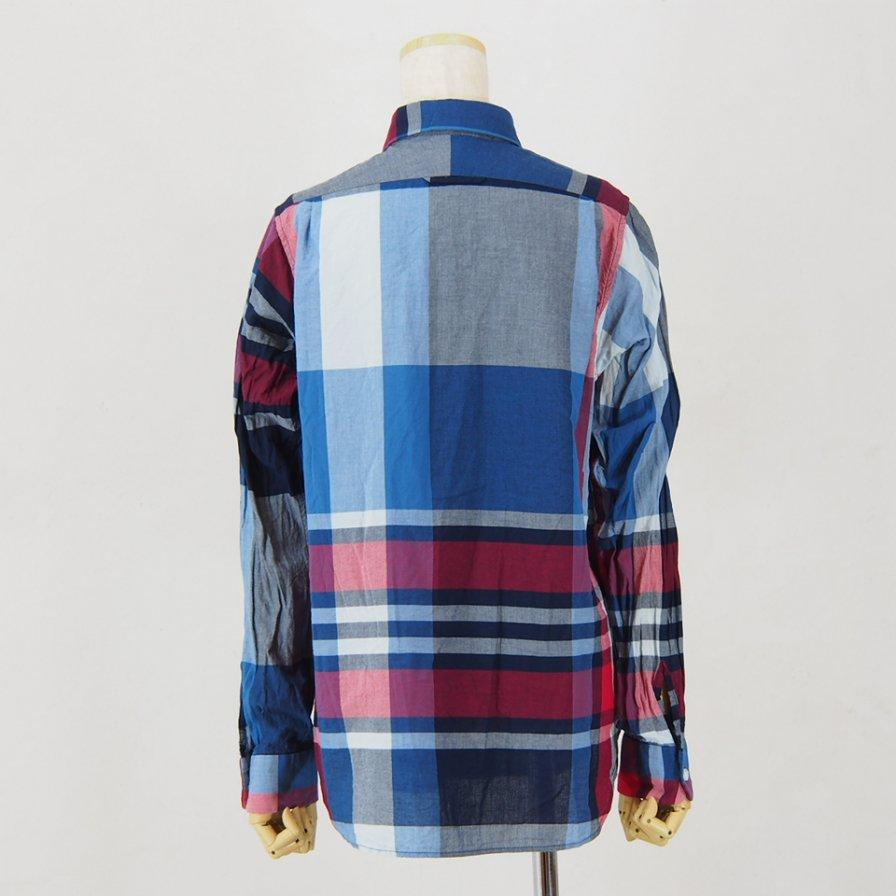 Engineered Garments Woman エンジニアドガーメンツウォメン - Short Collar Shirt - Big Madras Plaid - Navy/Red