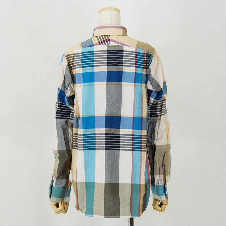 Engineered Garments Woman エンジニアドガーメンツウォメン - Short Collar Shirt - Big Madras Plaid - Khaki