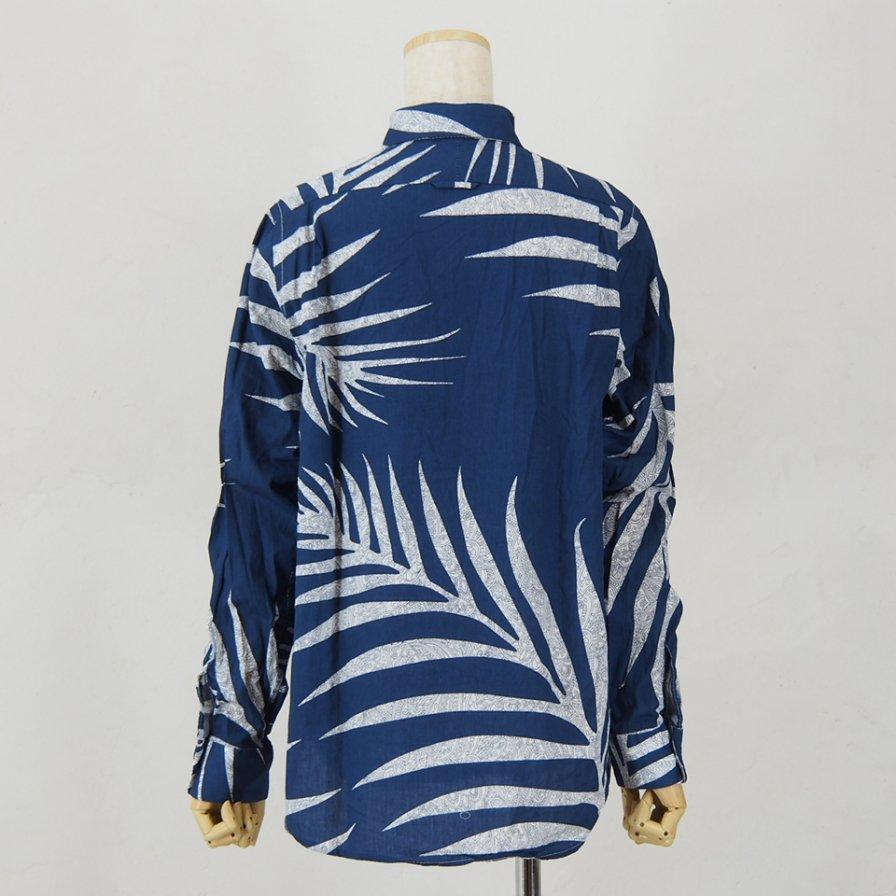 Engineered Garments Woman エンジニアドガーメンツウォメン - Short Collar Shirt - Big Leaf Print - Navy
