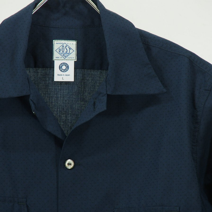POST OVERALLS - E Z Cruz Shirt S/S - Dobby Chambray - Navy