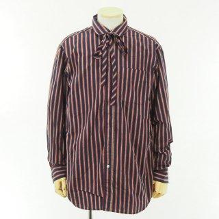 Engineered Garments エンジニアドガーメンツ - Rounded Collar Shirt - Regimental St. - Nvy/Red/Brn