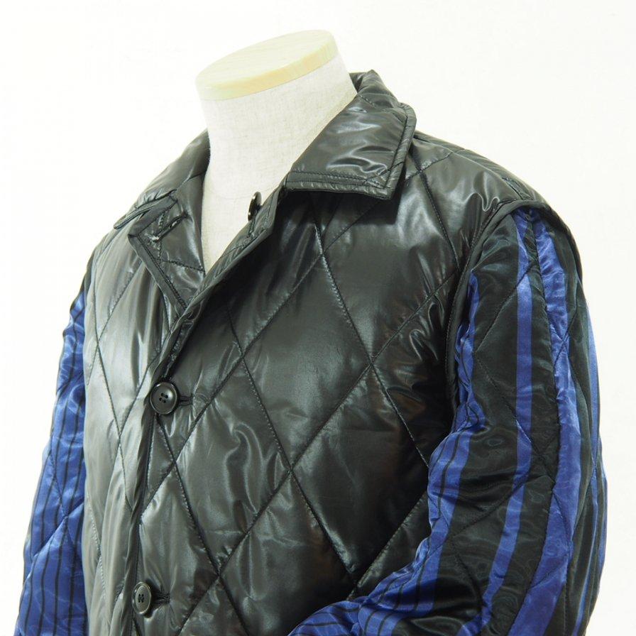 NOMA t.d. ノーマティーディー - Quilt Stitch Reversible Over Coat - Black / Navy×Black