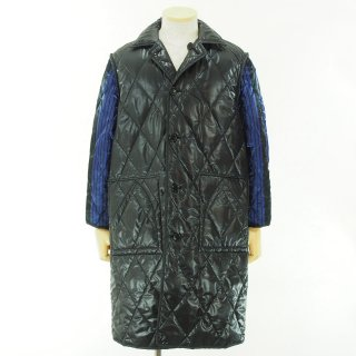 NOMA t.d. ノーマティーディー - Quilt Stitch Reversible Over Coat - Black / Navy×Black