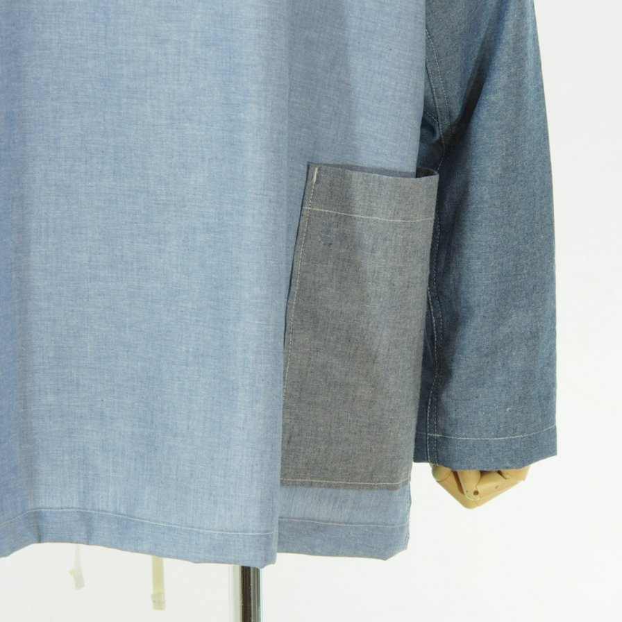 EG WORKADAY - Smock Popover Combo - Cotton Chambray - Blue