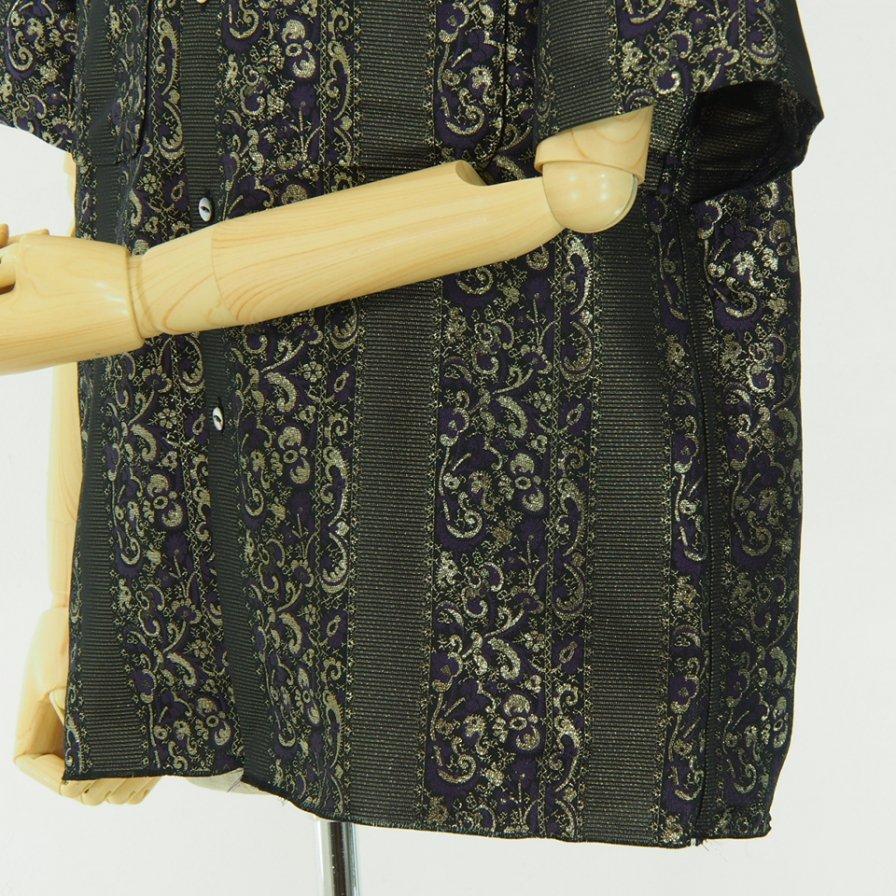Needles - Cut Off S/S One Up Shirt - Pe/Cu Jacqured - Briaht Stripe - Purple