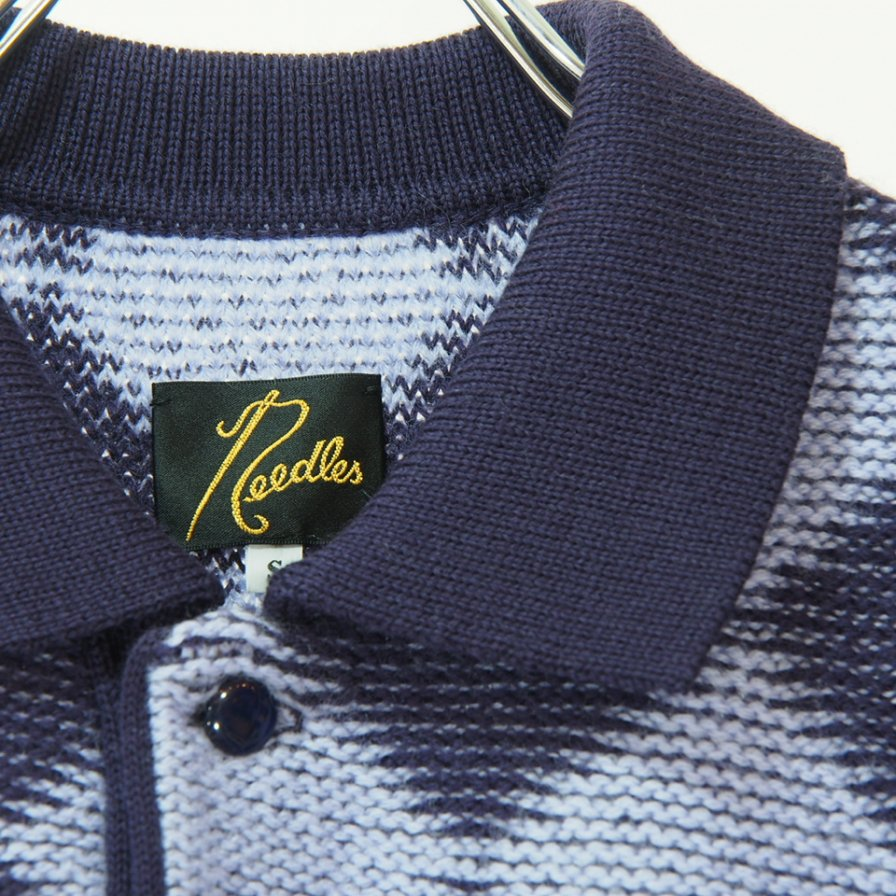 Needles ニードルズ - Polo Sweater - Checkered - Purple
