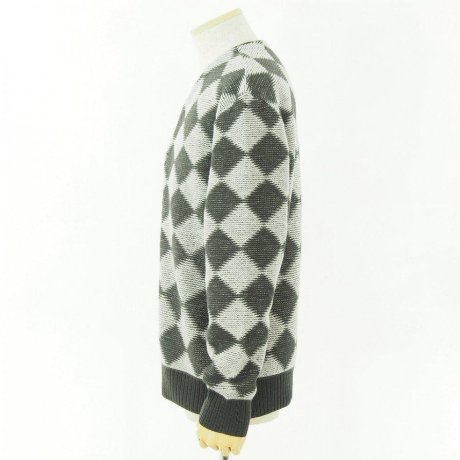 Needles ニードルズ - V Neck Cardigan - Checkered - Charcoal