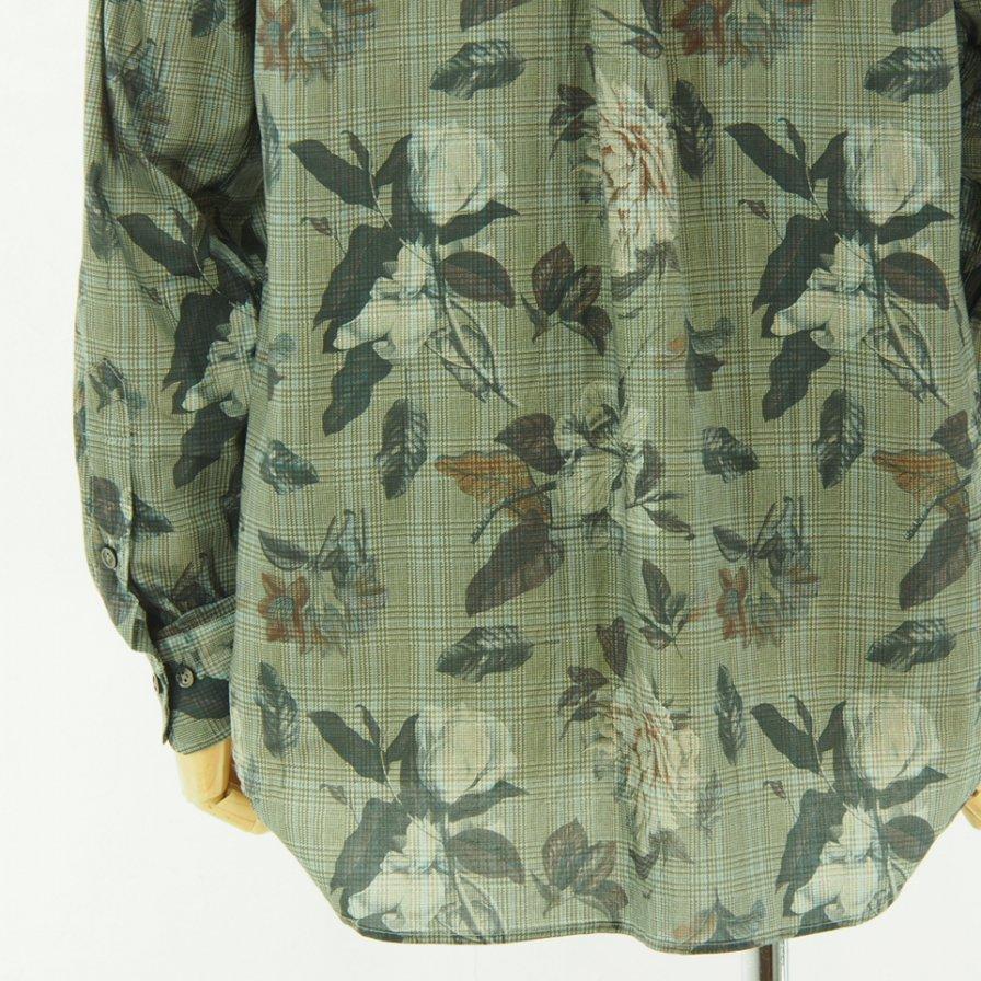 ts(s) ティーエスエス - Flower On Glen Plaid Print Stretch Cotton Cloth B.D. Shirt - Blue Gray