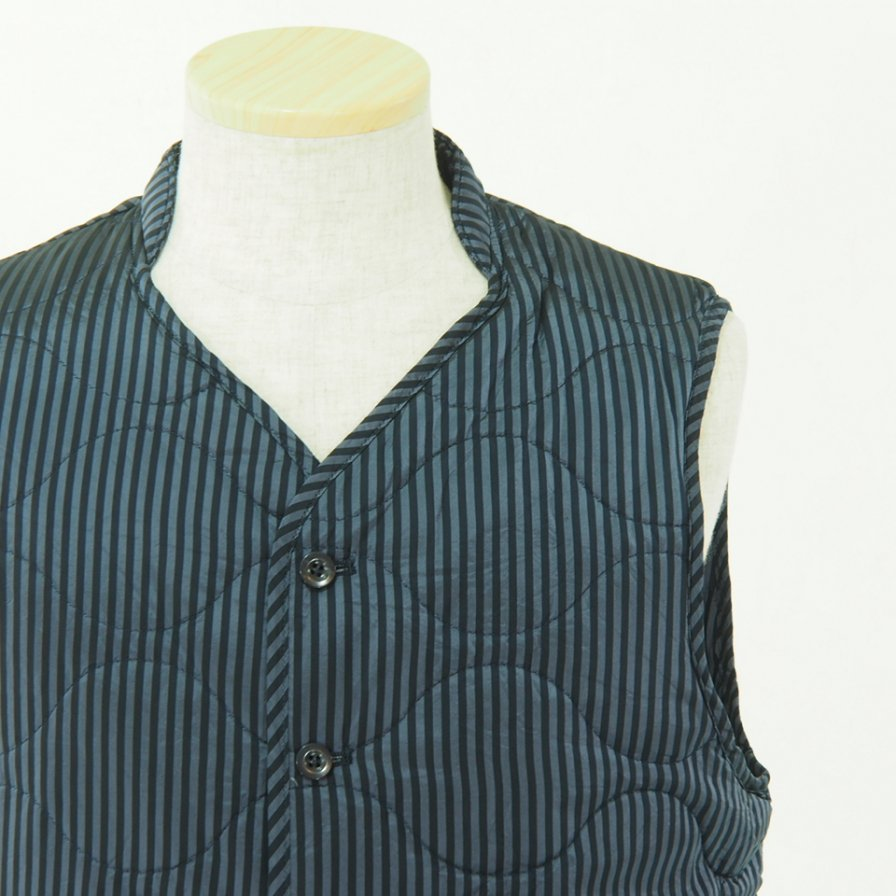 ts(s) ティーエスエス - Quilted Liner Vest - Block Stripe Cupra Cloth - Navy