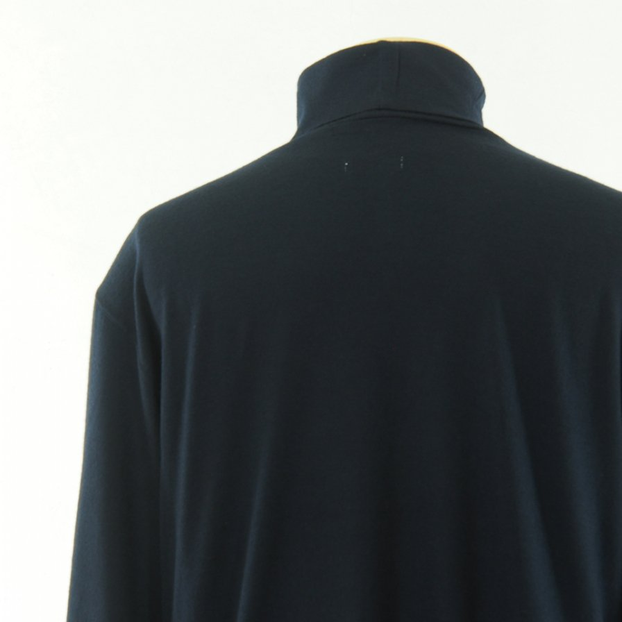 ts(s) ティーエスエス - Turtle Neck Shirt - Washable High Gauge Wool Jersey - Navy
