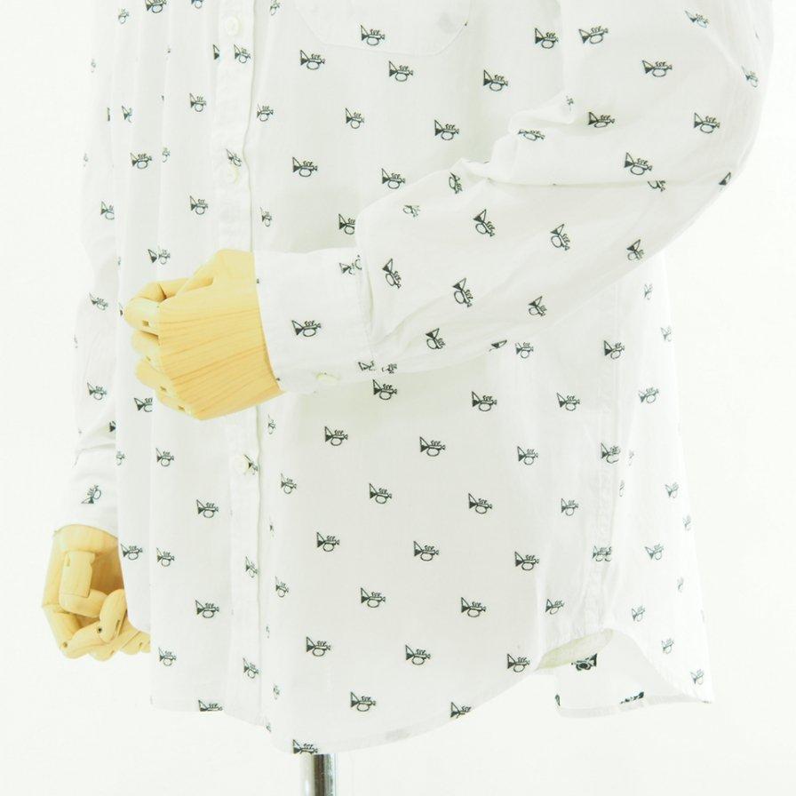 Engineered Garments エンジニアドガーメンツ - Tab Collar Shirt - Trumpet Emb. -  White