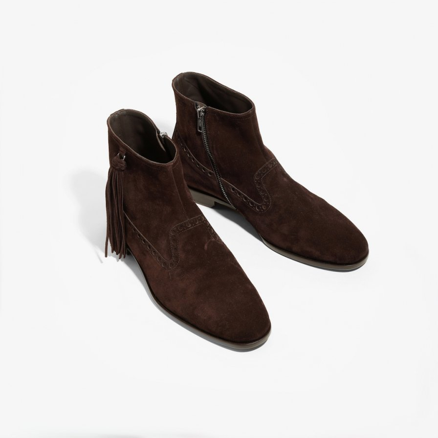 NEPCO FOOTWEAR ネプコフットウェアー - Medallion Boot With Tassel Fringe - Brown Suede