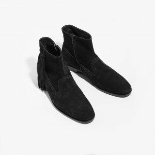 NEPCO FOOTWEAR ネプコフットウェアー - Medallion Boot With Tassel Fringe - Black Suede