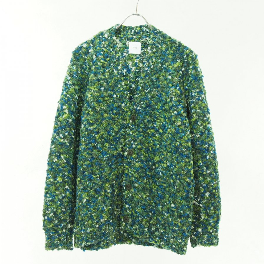 ts(s) ティーエスエス - Knit Cardigan - Hand Dye Mixed Color Slub Loop Yarn Knit - Green