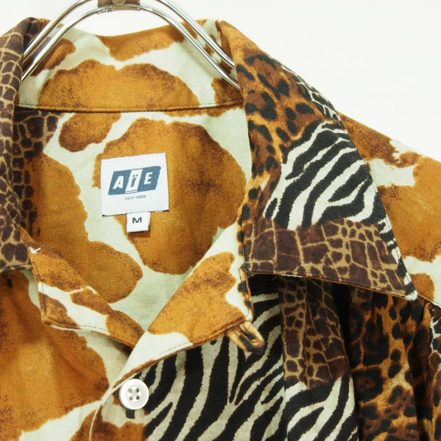 AiE エーアイイー - Painter Shirt - Animal Patchwork - Brown Multi