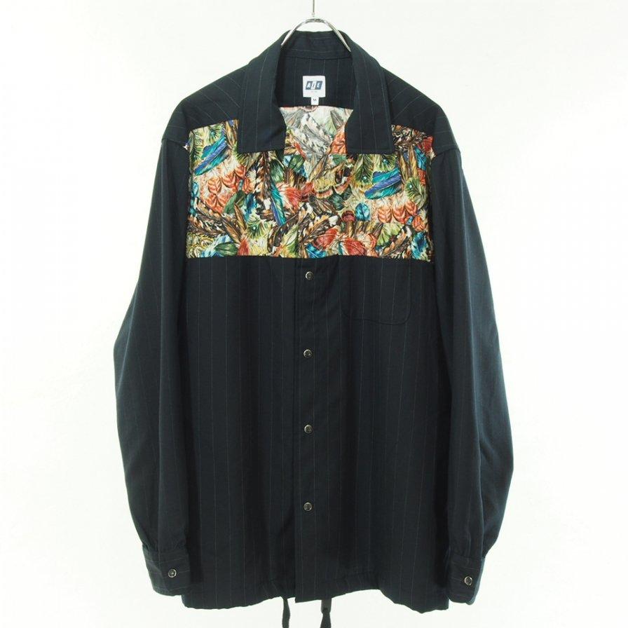 AiE エーアイイー - Coach Shirt - Chalk Stripe - Dk.Navy