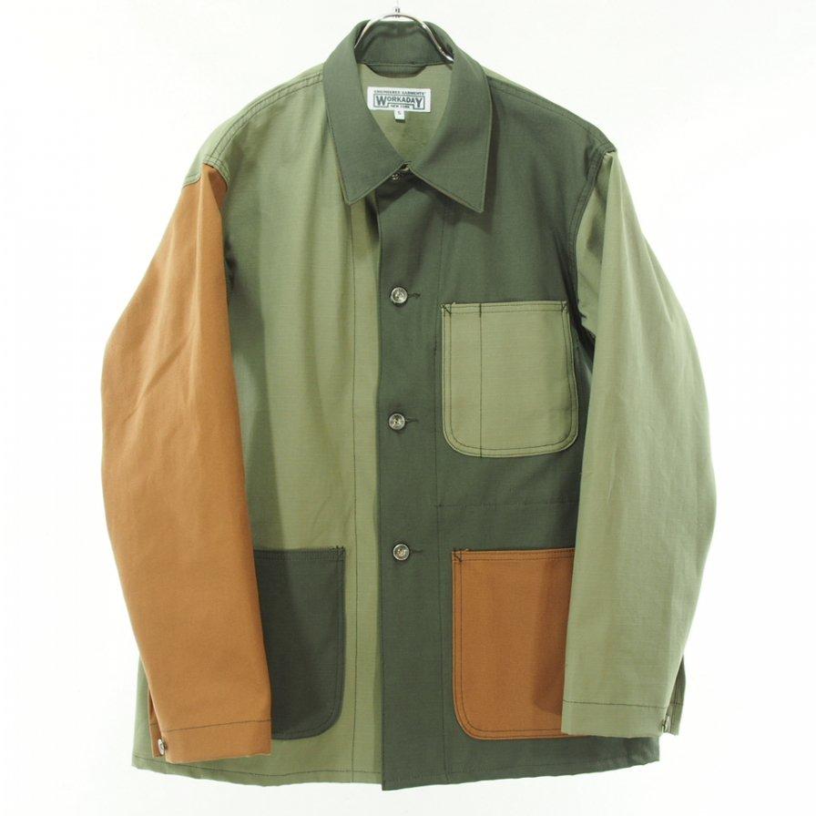 EG WORKADAY イージーワーカデイ - Utility Jacket Combo - Cotton Ripstop - Olive