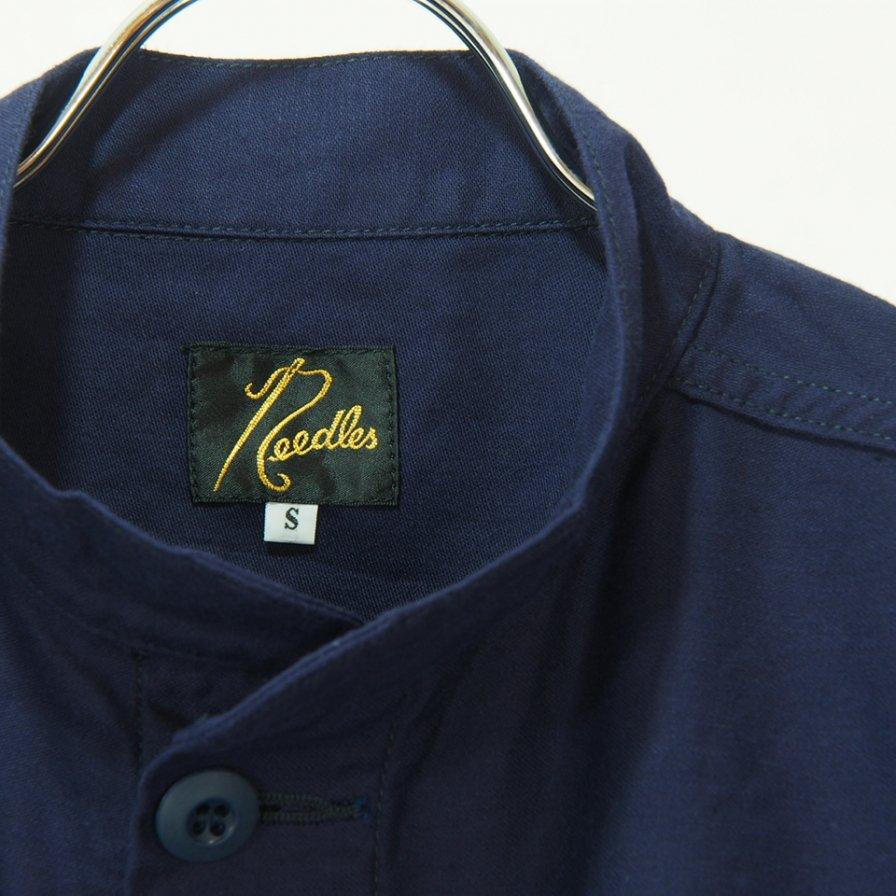 Needles ニードルズ - S.C. Army Shirt スタンドカラーアーミーシャツ - Back Sateen - Navy
