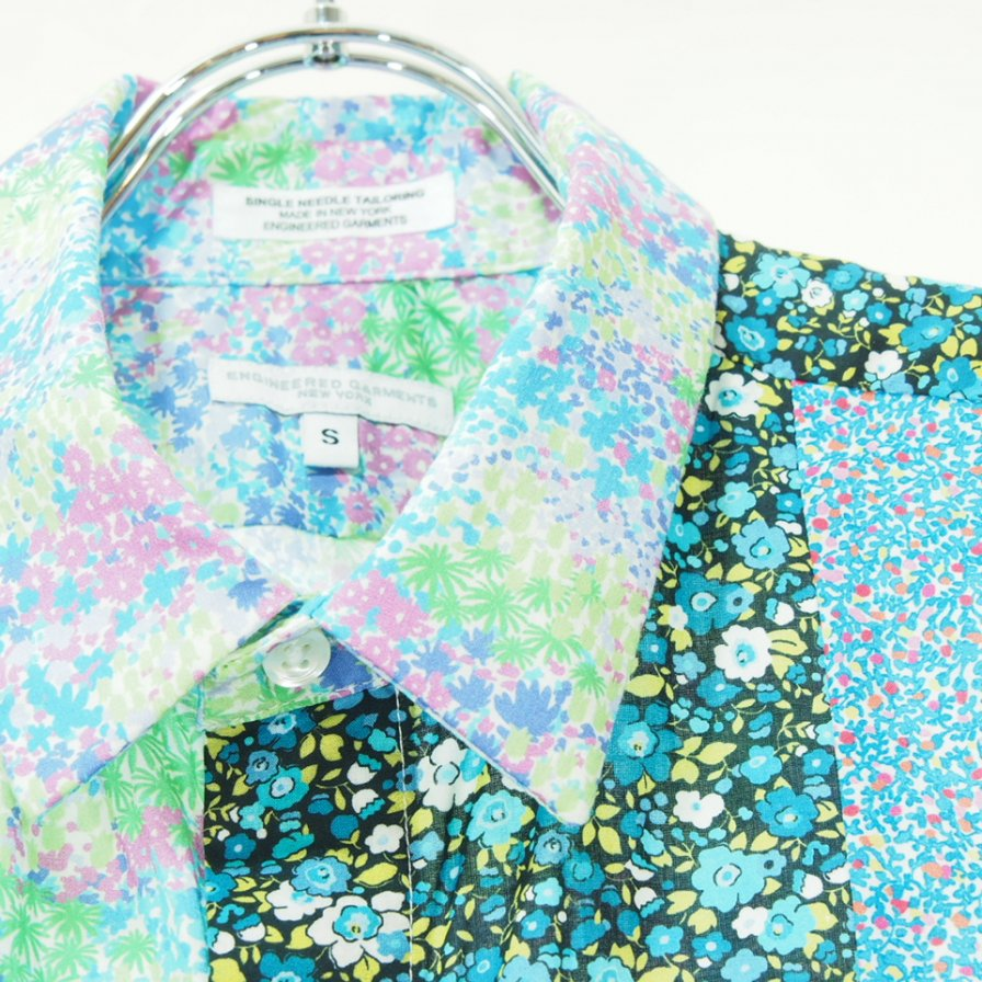 Engineered Garments エンジニアドガーメンツ - Combo Short Collar Shirt - Small Floral Cotton Lawn - Multi Color