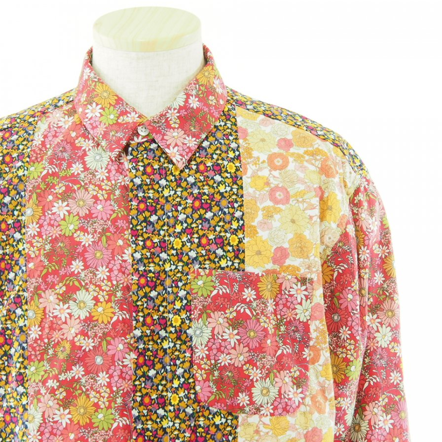 Engineered Garments エンジニアドガーメンツ - Combo Short Collar Shirt - Big Floral Cotton Lawn - Red