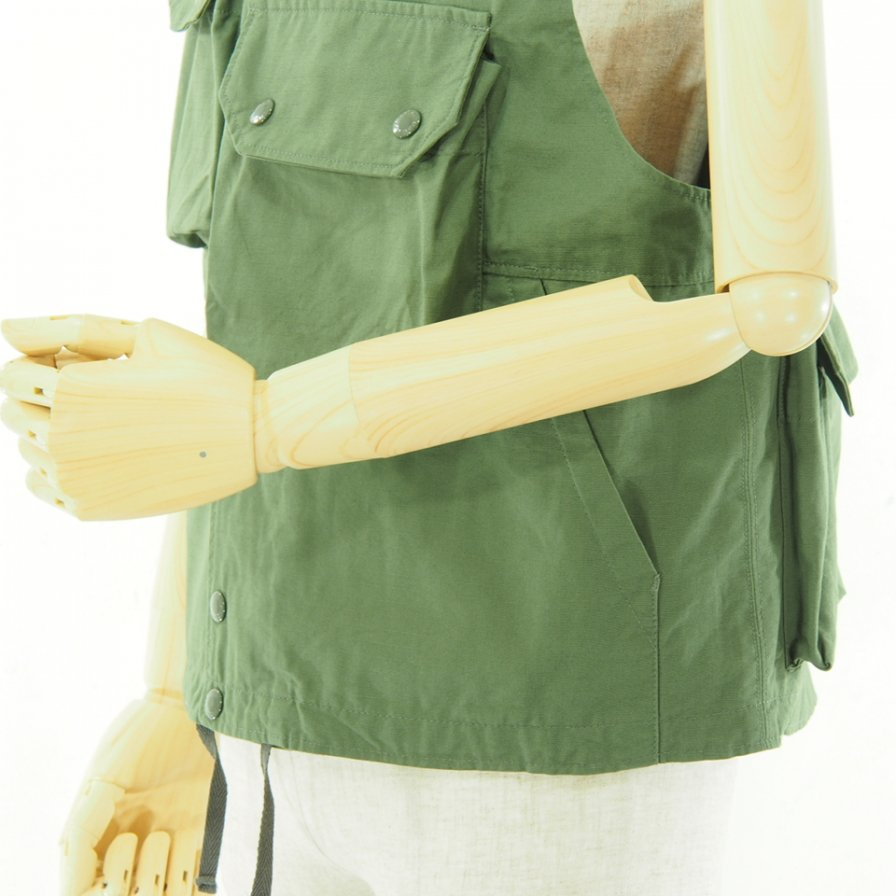 Engineered Garments - Cover Vest カバーベスト - Cotton Ripstop - Olive