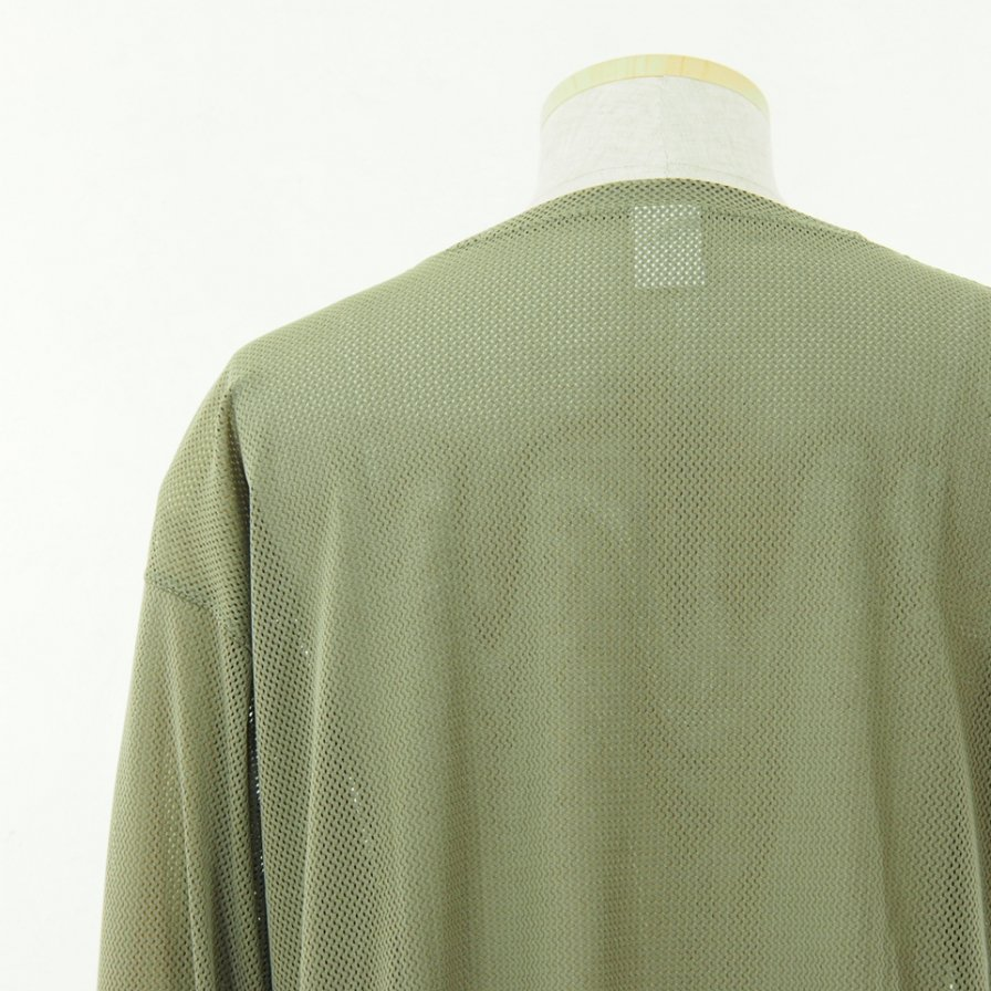 South2 West8 サウスツーウエストエイト - Side Slit Crew Neck Shirt サイドスリットクルーネックシャツ - Knit Mesh - Olive