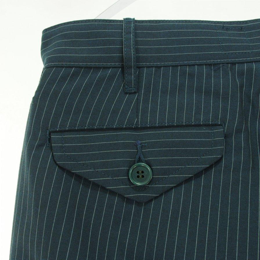 CORONA コロナ - 2T Desert Slacks ツータックデザートスラックス - TR Stripe Oxford -  Grey Pinstripe on Navy