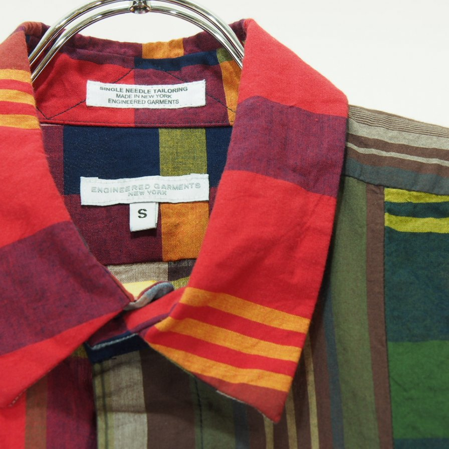 Engineered Garments エンジニアドガーメンツ - Combo Short Collar Shirt - Cotton Big Madras Plaid - Red/Navy