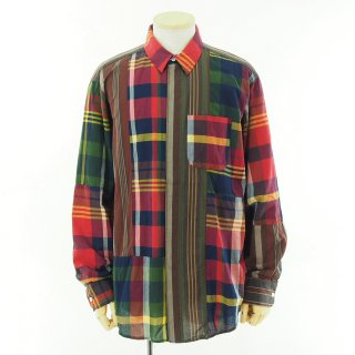 Engineered Garments エンジニアドガーメンツ - Combo Short Collar Shirt - Cotton Big Madras Plaid - Red/Navy