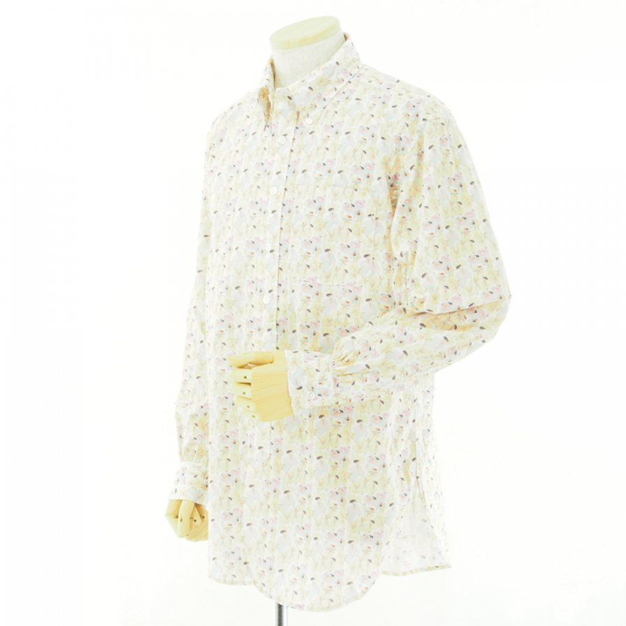 Engineered Garments エンジニアドガーメンツ - 19 Century BD Shirt - Cotton Surf Print - Orange/Lt.Blue