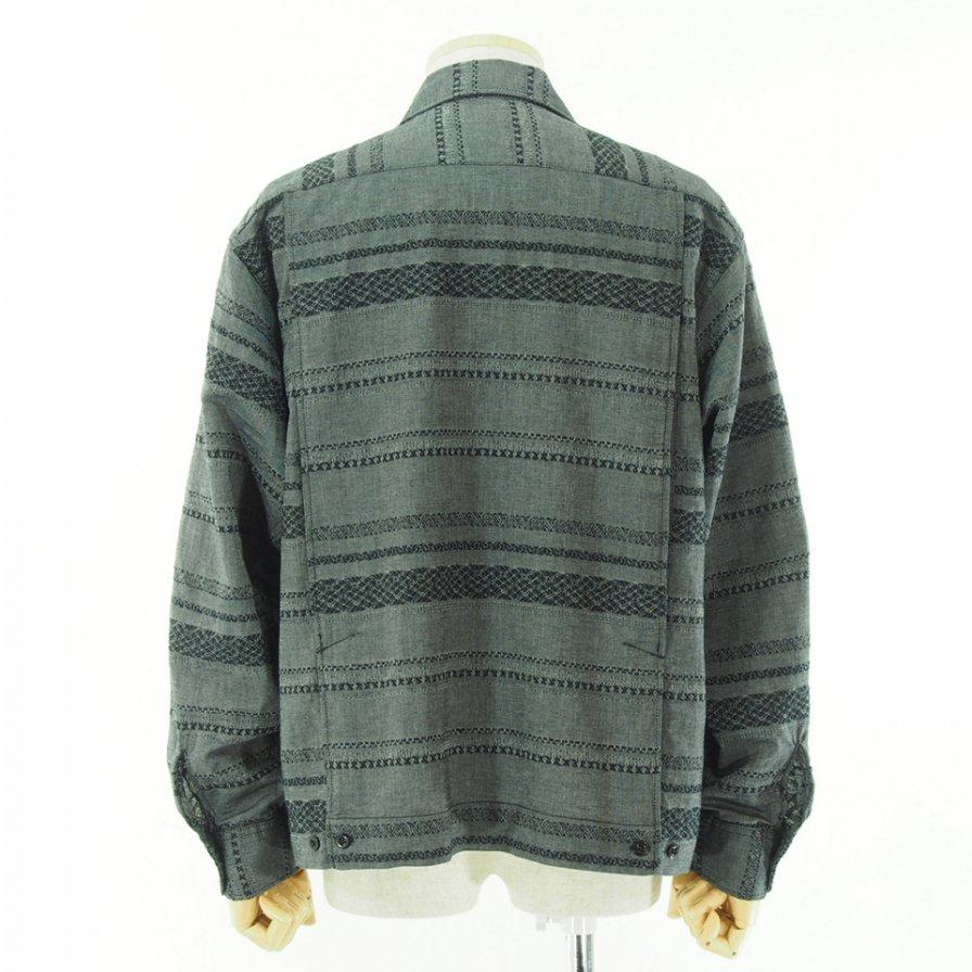 Engineered Garments エンジニアドガーメンツ - Bowling Shirt ボーリングシャツ - Horizontal Stripe - Grey