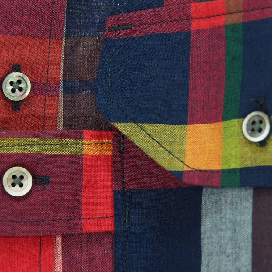 Engineered Garments エンジニアドガーメンツ - Banded Collar Shirt - Cotton Big Madras Plaid - Red/Navy