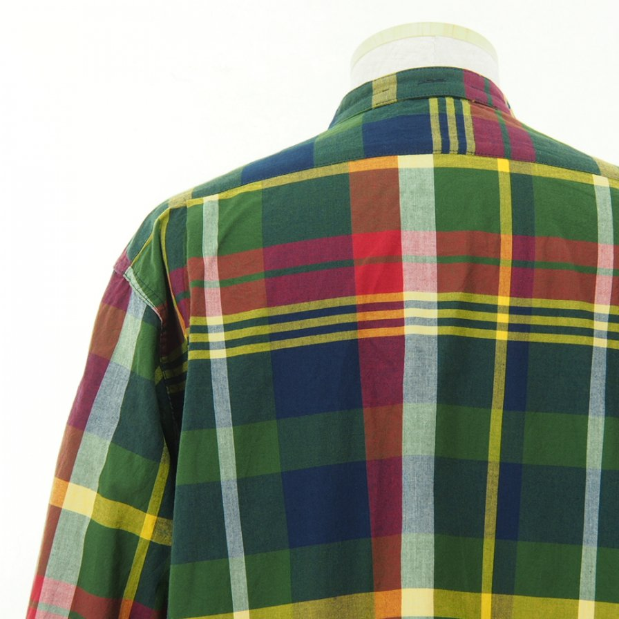 Engineered Garments エンジニアドガーメンツ - Banded Collar Shirt - Cotton Big Madras Plaid - Green/Navy