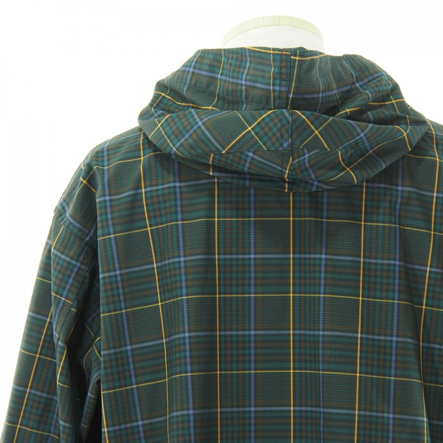 Engineered Garments エンジニアドガーメンツ - Cagoule Shirt カグールシャツ -  Polyester Rayon Glen Plaid - Dk.Brown