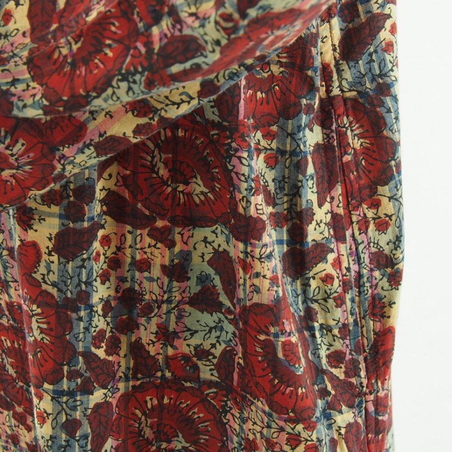 South2 West8 Woman サウスツーウエストエイトウォメン - Henley Neck Shirt Dress - Batik Over Print - Beige