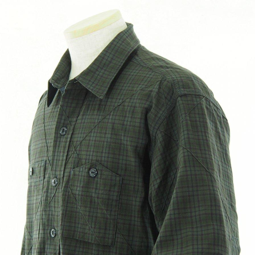 Engineered Garments エンジンニアドガーメンツ - Work Shirt ワークシャツ - Cotton Pintuck Small Plaid - Dk.Olive