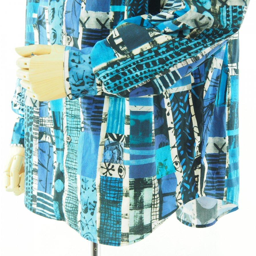 AiE エーアイイー - Painter Shirt ペインターシャツ - Cotton Art Stripe - Blue/Black