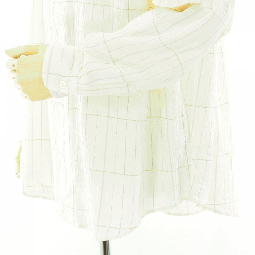 AiE エーアイイー - Painter Shirt ペインターシャツ - Cotton Gauze Plaid - Ivory / Lt.Blue