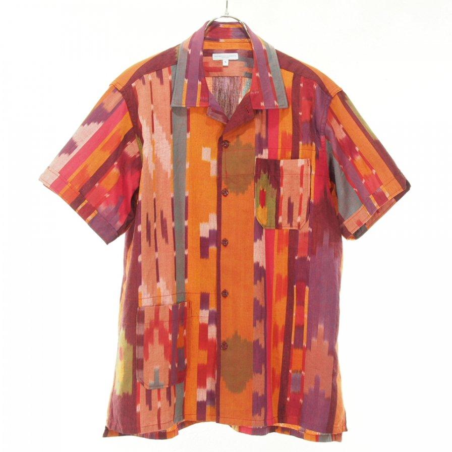 Engineered Garments エンジンニアドガーメンツ - Camp Shirt キャンプシャツ - Cotton Ikat - Red/Orange