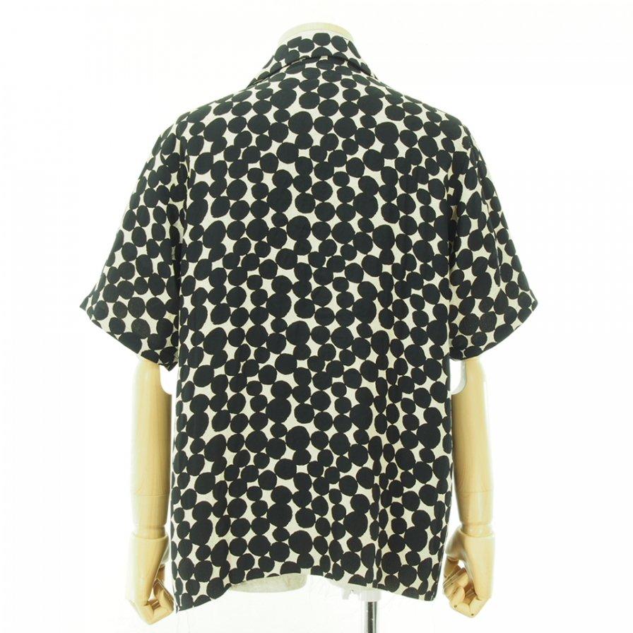 Needles ニードルズ - C.O.B. S/S One-Up Shirt カットオフボトムショートスリーブワンナップシャツ - Bubble Jq. - Ivory/Black