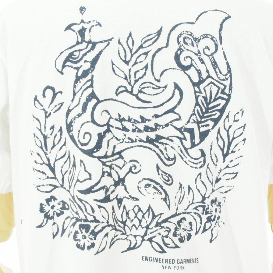Engineered Garments エンジンニアドガーメンツ - Printed Cross Crew Neck T-Shirt / Phoenix - White