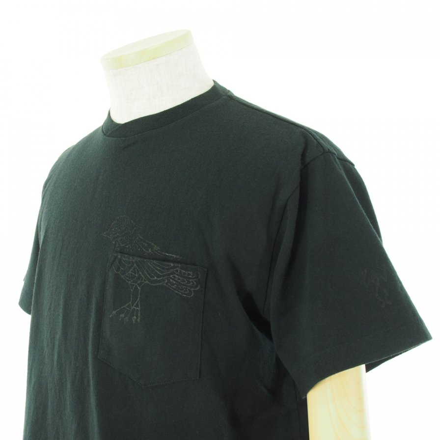 Engineered Garments エンジンニアドガーメンツ - Printed Cross Crew Neck T-Shirt / Phoenix - Black