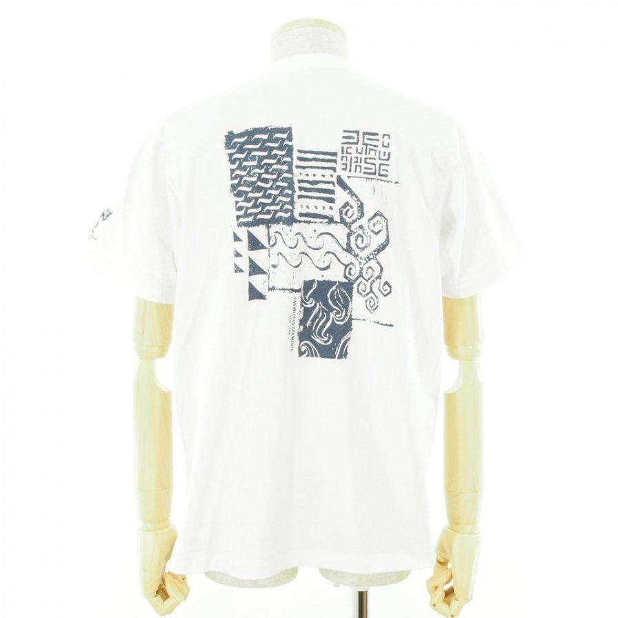 Engineered Garments エンジンニアドガーメンツ - Printed Cross Crew Neck T-Shirt / Square Geo - White