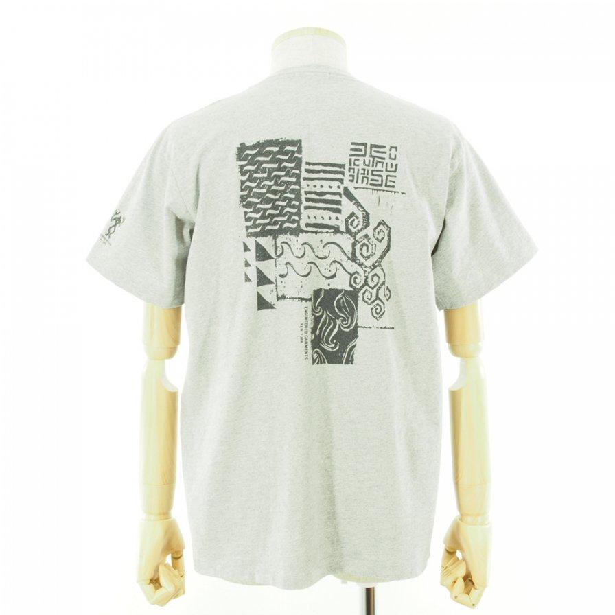 Engineered Garments エンジンニアドガーメンツ - Printed Cross Crew Neck T-Shirt / Square Geo - Grey