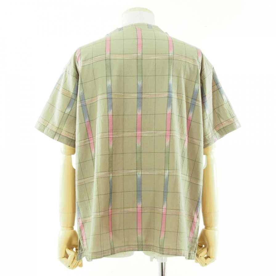 South2 West8 サウスツーウエストエイト - S/S V Neck Shirt - Ikat Windowpane - Beige