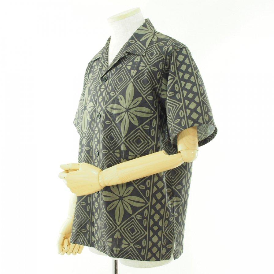 CORONA コロナ - French Cafe Shirt フレンチカフェシャツ - Dot Air Resort Pattern - Charcoal x Khaki