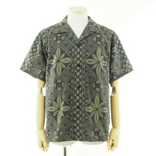 CORONA コロナ - French Cafe Shirt フレンチカフェシャツ - Dot Air Resort Pattern - Charcoal x Khaki